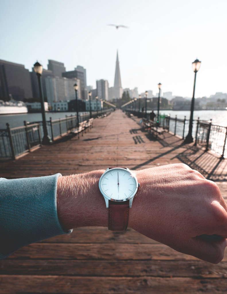 Reloj de pulsera puerto y gaviota